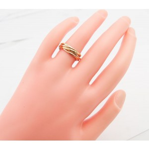 Cartier 18K Yellow, White & Pink Gold Trinity Ring Size 5.25