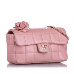 Choco Bar Camellia Lambskin Leather Chain Crossbody Bag