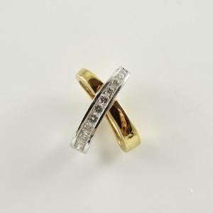 18K Yellow Gold White Gold Diamond X Slide