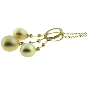 18K Yellow Gold with Golden South Sea Cultured Pearl and 0.19ctw Diamond Chandelier Pendent Necklace