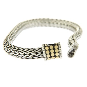 John Hardy 925 Sterling Silver and 18K Yellow Gold Wheat Chain Dots Bracelet