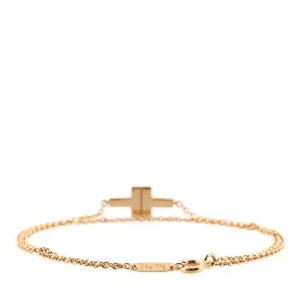 Tiffany & Co. T Double Chain Bracelet 18K Rose Gold and Diamonds Medium