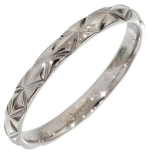 Chanel Platinum Matelasse Band Size 7.5 Ring