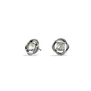 David Yurman Sterling Silver Prasiolite Infinity Stud Earrings