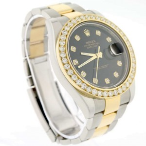 Rolex Datejust II 2-Tone 18K Yellow Gold/Stainless Steel 41mm Mens Oyster Watch 116333 w/Diamond Dial & 4.0CT Bezel