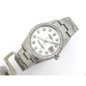 Mens Rolex Stainless Steel Date White MOP Diamond 15010