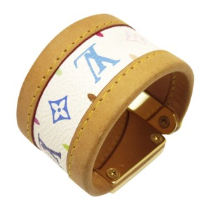 Louis Vuitton Gold Tone Metal Leather and Canvas Bracelet