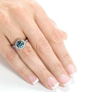 Vintage Fancy Blue Diamond Diamond Halo Engagement Ring 1 CTW in 14k White Gold - 4.0