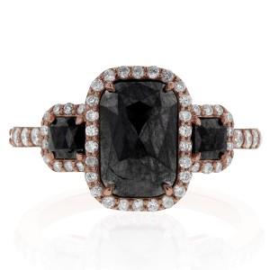 Cushion Cut 3 Stone Black Diamond Ring 3 1/2CTW in 14k Rose Gold