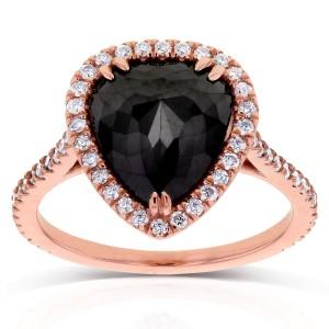 Rose-cut Black Diamond Pear Shaped Halo Ring 3 2/5 CTW in 14k Rose Gold
