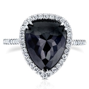 Rose-cut Black Diamond Pear Shaped Halo Ring 5 5/8 CTW in 14k White Gold