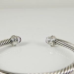 David Yurman Sterling Silver .20tcw 5mm Lavender Amethyst Diamond Princess Bracelet