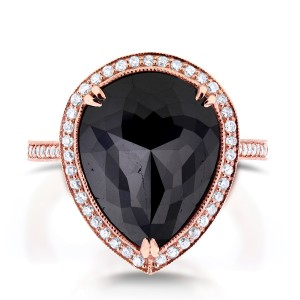 Pear Shape Black and White Diamond Halo Ring 8 1/2 CTW in 14k Rose Gold