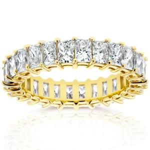 Princess Baguette Diamond Eternity Band 4 7/8 CTW in 14K Yellow Gold