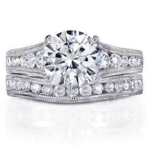 Diamond Bridal Ring Set 2 2/5 CTW in 14k White Gold - 10.5