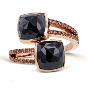 2-Stone Black & Champagne Diamond Split Shank Bypass Fashion Ring 5 3/5ct TDW in 18k Rose Gold - 8.5