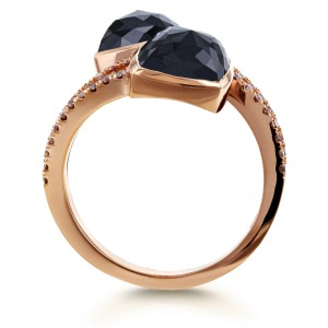 2-Stone Black & Champagne Diamond Split Shank Bypass Fashion Ring 5 3/5ct TDW in 18k Rose Gold - 7.5