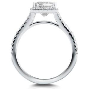 Princess Diamond Halo Split Shank Ring 2 1/4 CTW in 14k White Gold (Certified) - 6.0