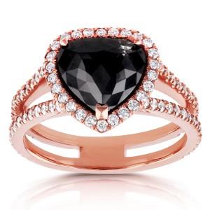 14k Rose Gold Pear Shape Black and White Diamond Halo Ring 3 3/4 CTW