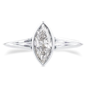 Solitaire Marquise Diamond Bezel Ring in 1 1/10 CTW 14k White Gold - 7.5