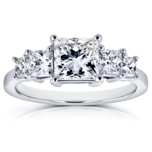 Diamond Five-Stone Engagement Ring 2 CTW in 14K White Gold (Certified) - 8.0