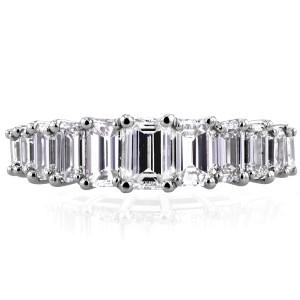 Emerald Diamond Wedding Ring 2 1/2 CTW in Platinum (Certified) - 7.5