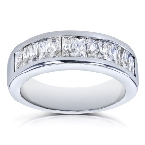 Princess Baguette Diamond Wedding Band 1 2/5 CTW 14k White Gold - 6.0