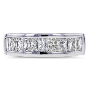 Princess Baguette Diamond Wedding Band 1 2/5 CTW 14k White Gold - 8.0