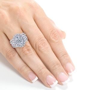 Oval Cluster Diamond Engagement Ring 3 CTW 14k White Gold - 6.5