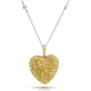 Fancy Yellow Diamond Pave-set Dome Heart Pendant Necklace 3 4/5 CTW 18k Yellow Gold, 18in Chain (Certified)