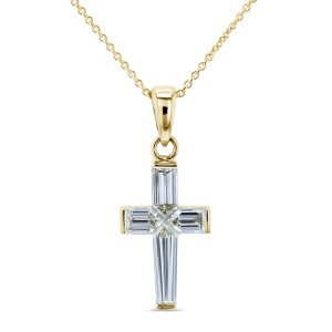 Baguette Diamond Cross Necklace 18k Pendant 14k Chain (1 3/4 CTW)