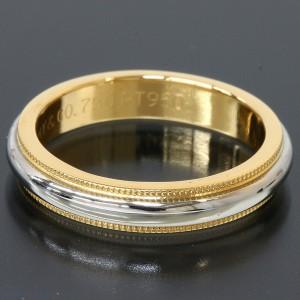 Tiffany & Co. Platinum 18K Yellow Gold Milgrain Band Ring TNN-1691
