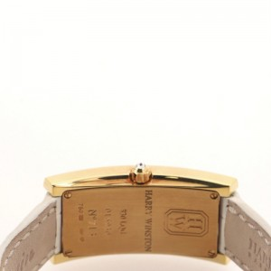 Harry Winston Avenue C Quartz Watch Yellow Gold and Alligator with Diamond Bezel and Mother of Pearl 19