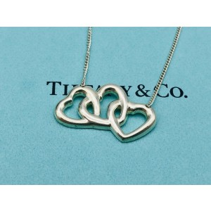 Tiffany & Co. Sterling Silver Elsa Peretti Triple Open Heart Necklace