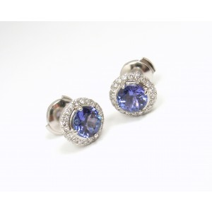 Tiffany & Co. Platinum with 1.40ct. Tanzanite and 0.19ctw. Diamond Stud Earrings