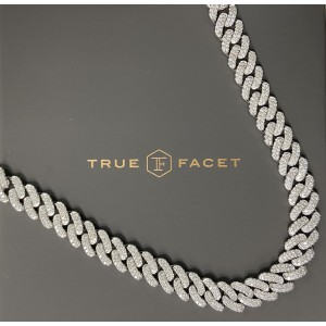 14K White Gold Men's  20.37ct Diamond Link Necklace