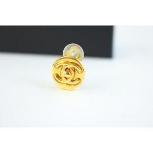 Chanel CC Turnlock Gold Tone Metal Earrings