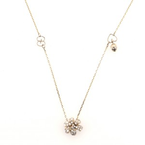 Gucci Flora Pendant Necklace 18K Yellow Gold with Diamonds and Moonstone