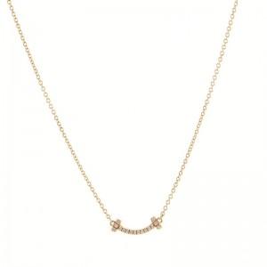 Tiffany & Co. T Smile Pendant 18K Rose Gold with Diamonds Mini Necklace