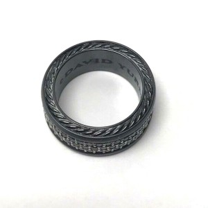 David Yurman Black Streamline Titanium Three-row Diamond Men's Ring
