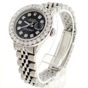 Rolex Datejust Ladies 26MM Automatic Steel Jubilee Watch w/Midnight Black Diamond Dial & Diamond Bezel