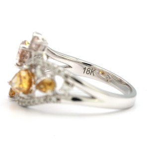 18K White Gold 1.01ct Pear Shaped Yellow and Brown Diamond Ring Size 6.25