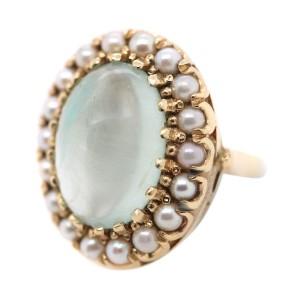 14K Yellow Gold Aquamarine Cabochon and Pearl Ring