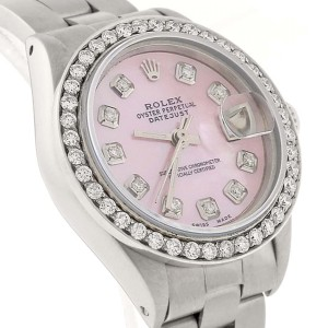 Rolex Datejust Ladies Automatic Stainless Steel 26mm Oyster Watch with Pink MOP Diamond Dial & Bezel