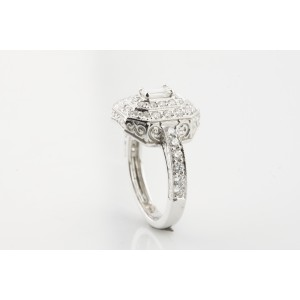 18K White Gold with 1.17ctw. Diamond Engagement Ring Size 6