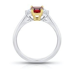 Platinum 18K Yellow Gold 0.75ct. Ruby 0.28ctw. Diamond Ring Size 7