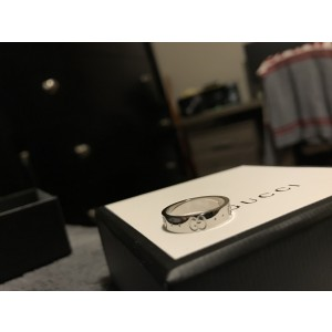 Gucci White Gold Ring Size 10