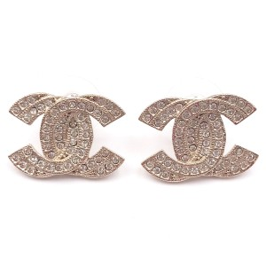 Chanel Sterling Silver Double CC Crystal Piercing Earrings