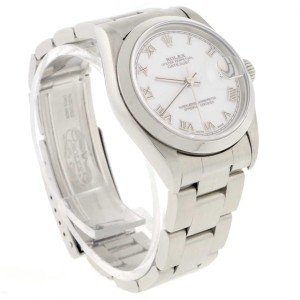 Rolex Datejust Midsize 31MM Original White Roman Dial Smooth Bezel Automatic Stainless Steel Watch 78240