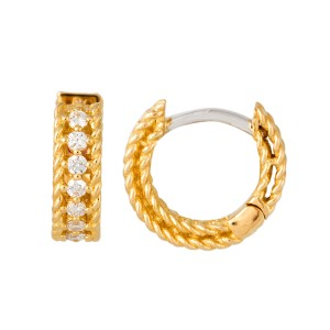Roberto Coin Symphony Princess 18k Yellow Gold 0 26ct Diamond Hoop Earrings